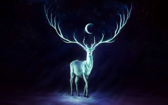 Stag and crescent moon